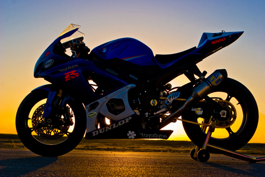 gsxr1000 against a sunrise